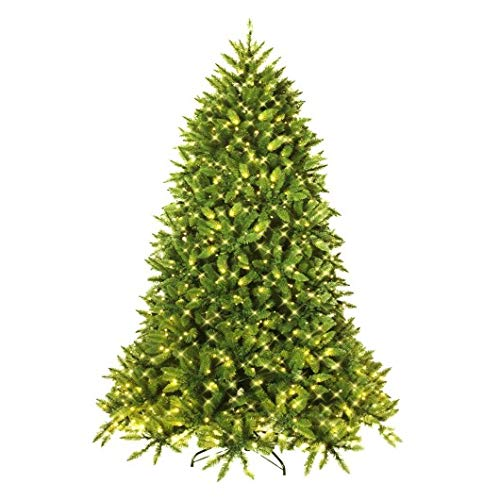 Homeura Premium Hinged Artificial Fir Christmas Trees with LED Lights-5 ft, Premium Spruce Artificial Holiday Christmas Trees for Home - Green
