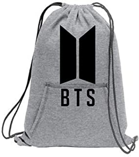 M Melcom Cotton Sports Sweatshirt BTS Printed Cinch Drawstring Backpack