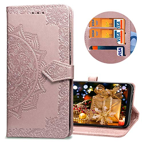 MRSTER Samsung J2 Core Hülle, Premium Leder Tasche Flip Wallet Hülle [Standfunktion] [Kartenfächern] PU-Leder Schutzhülle Brieftasche Handyhülle für Samsung Galaxy J2 Core 2018. SD Mandala Rose
