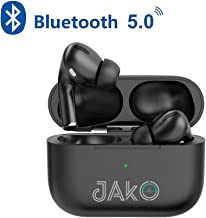 JAKO Bluetooth 5.0 Wireless Earbuds, A3 Pro Wireless Bluetooth Headphones with Noise Cancelling Microphone, TWS in-Ear Earphone, IPX5 Waterproof Earbuds for Sport, Touch Control, Rubber Texture, Black