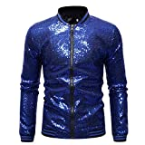 Omoone Men's Zip Up Mermaid Sequin Lightweight Shiny Clubwear Bomber Jacket (0480-RoyalBlue-M)
