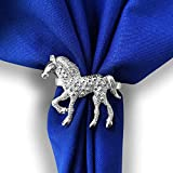 Kalopro Horse Napkin Rings Holder Set of 4, Silver Napkin Rings for Tables Decoration Napkin,Napkin Buckle Napkin Holder for Easter Wedding Valentine's Day New Year Christmas(Horse)