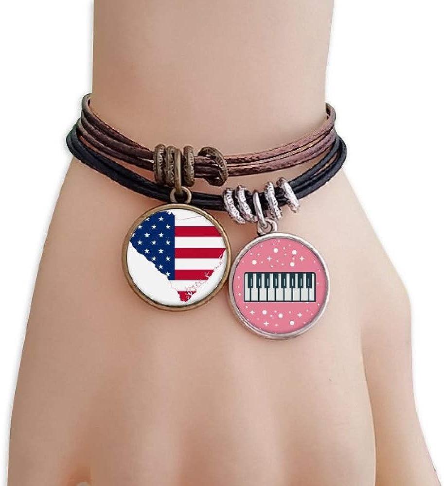 cold master DIY lab Carolina America USA Map Stars Stripes Flag Bracelet Rope Wristband Piano Key Music Charm