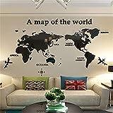 Wandaufkleber Weltkarten Wandtattoo 3d Acryl Studie Wohnzimmer Sofa Hintergrund Wandaufkleber (100x60cm,Schwarz)