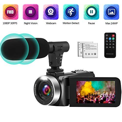 Videocámara Videocamara con IR Night Vision, FHD 1080P 30FPS Youtube Vlogging Camera 16X Zoom Digital Camara De Video con Micrófono y 2 Baterías Recargables