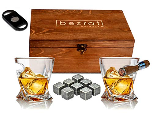 Bezrat Old Fashioned Whiskey Glasses With Side Mounted Holder, 10 oz + Whisky Chilling Stones and accessories in Wooden Box - Scotch Bourbon Set for Dad, Husband, Fathers Day, Birthday