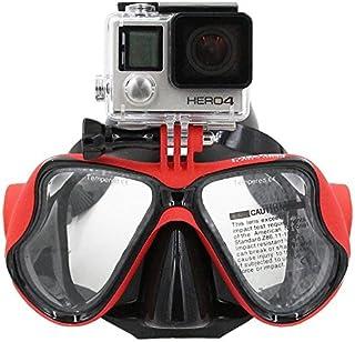 Gafas de bucear con soporte compatible para on GoPro, Hero3, 3+ y 4/4 Session, para buceo con Go-Pro