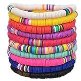 HEALLILY 10 pulseras bohemias de arcilla polimérica arco iris de la amistad, pulseras de cuerda elástica Heishi para playa de verano (diseños surtidos)