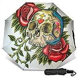 LYYNBLA Totenkopf-Regenschirm, kompakt, manuelles Öffnen/Schließen, dreifach faltbar, UV-Schutz,...