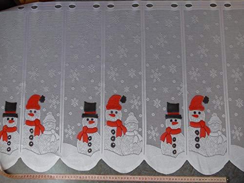 Gardinen Röttger Scheibengardinenstoff Schneemann rot Weihnachten 60cm hoch