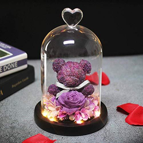 Kyman Eterna Frescos conservados Rose Oso de Peluche Precioso Que moldea la luz llevada en un matraz Inmortal Rose Valentine S Día de la Madre S Regalos del Día-Verde (Color : Purple)