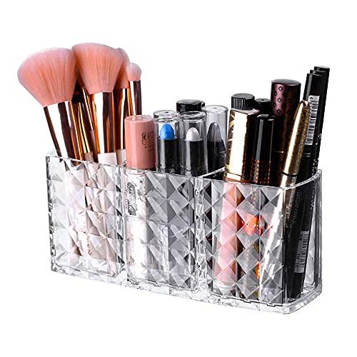 iPegtop, organizer per pennelli da trucco, con 3 fessure, in acrilico, per cosmetici, eyeliner, sopracciglia, a forma di diamante trasparente