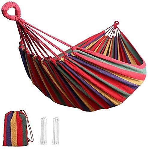 Amaca da giardino, portata massima 300 kg (260 x 80 cm), per giardino prato terrazza spiaggia foresta viaggio all'aperto amaca da campeggio strisce rosse arcobaleno