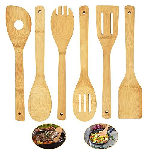 RMENOOR Juego de Utensilios de Cocina Set de Cucharas de Cocina de Bambú Palas de Cocina Cuchara para Servir Espátula de Cocina, 6 Piezas Diferentes, Herramientas Antiadherentes para Hornear