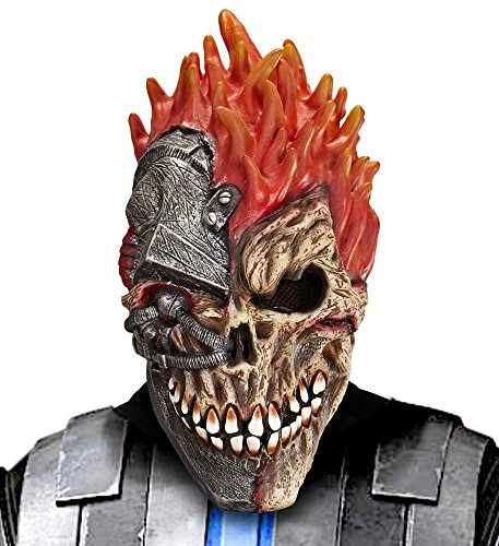 shoperama Cyborg Totenkopf Horror Latex-Maske Halloween Skull Cyber Zombie Roboter Maschine