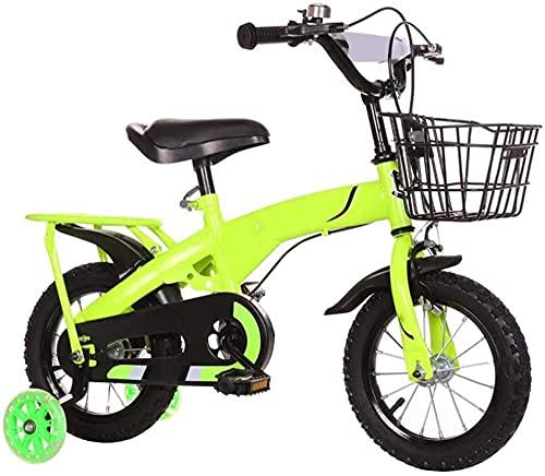 Bicicleta infantil para niñas y niños de 2 a 10 años de edad 12 14 16 18 pulgadas Bicicleta infantil con ruedas de entrenamiento y frenos de mano 4 colores verde_40 cm