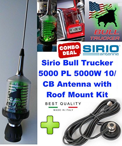 Great Features Of Sirio Bull Trucker 5000 PL 5000W CB & 10M Green LED Mobile Antenna Roof Mount Kit