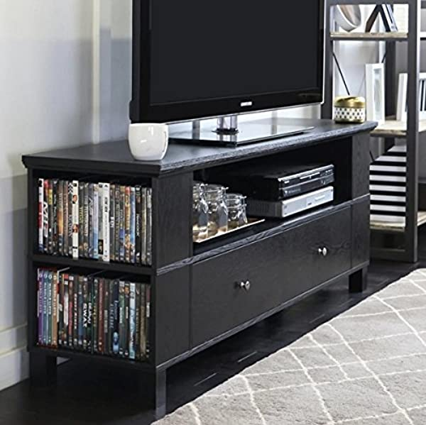 Flat TV Console Stands 59 Black Wood Furniture Modern Storage Television Cabinet With Mounts Plasma Entertainment Center
