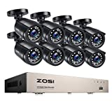 ZOSI Kit de Videovigilancia 8CH H.265+ Grabadora DVR con (8) 2MP Cámara de Vigilancia Exterior, Visión Nocturna, Alarma de Movimineto, Acceso Remoto, Sin Disco Duro