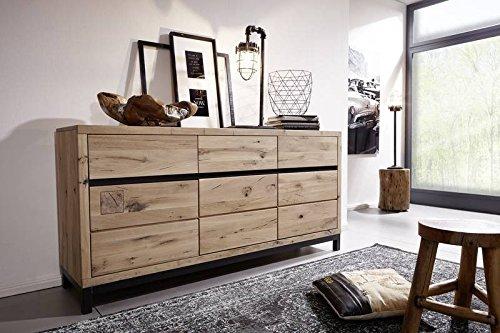 Preisvergleich Produktbild MASSIVMOEBEL24.DE Sideboard Wildeiche 175x45x85 Bianco geölt VILLANDERS 208 modern