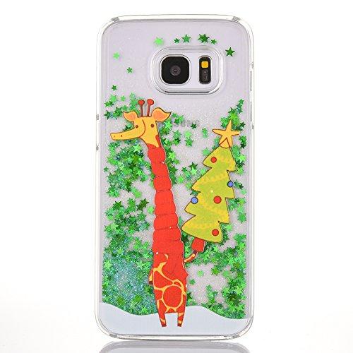 SpiritSun Funda para Samsung S6, Silicona Case Carcasa con Líquido y Transparente, Dura Cover Bumper TPU Tapa Trasero para Samsung Galaxy S6 Anti Rasguños Protector Caso - Jirafa