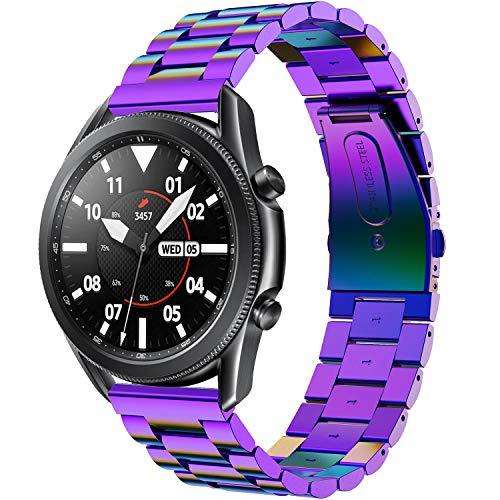 hengkang Fit for Samsung Galaxy Watch 3 45mm SM-R840 Bands Women Men, 22mm Quick Release Business Metal Replacement Band Straps Durable Wristbands for Samsung Gear S3 Frontier/ S3 Classic (Purple)