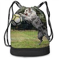 ジムサック ナップサック スポーツバッグ 犬遊ぶサッカー 草 面白い 手提げポーチ 巾着袋 おしゃれバッグ アウトドア 旅行 登山 遠足用