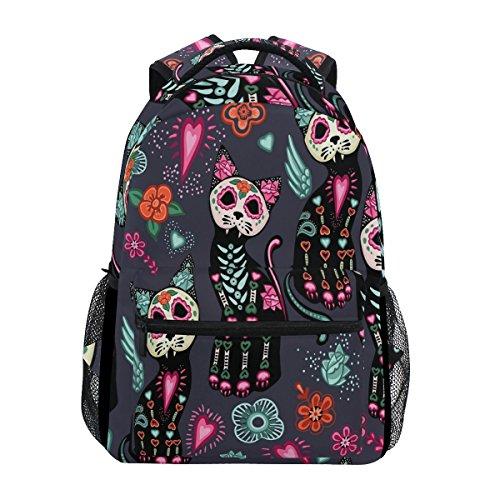 WXLIFE Flower Cat Mexican Skull Backpack Travel School Shoulder Bag for Kids Boys Girls Women Men