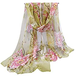 Unique Floral Scarves Chiffon Flowers & Birds Printed Scarf for interview outfits
