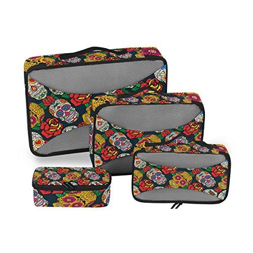 CPYang Día de los Muertos Calavera Flor Embalaje Cubos 4 Set Equipaje Embalaje Organizadores de Viaje Malla Bolsa de Almacenamiento para Maleta