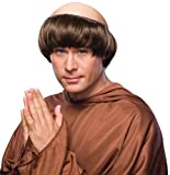 Forum Novelties mens Monk Wig With Tonsure Party Supplies, Brown, One Size US