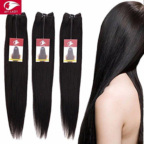 25cm-60cm Extension Capelli Veri Tessitura Peruviani Extension Matassa Lisci Remy Human Hair Vergini 100g/Bundle, 40cm, 1B# Nero Naturale