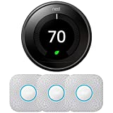 Google Nest T3018US Learning Thermostat 3rd Gen Smart Thermostat, Mirror Black Bundle with 3-Pack S3006WBUS Protect Smoke and CO Alarm, Battery