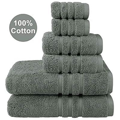 Josmon Towel Sets, 100% Cotton Bath Towels Set 6 Pieces for Bathroom, Luxury Highly Absorbent Hotel Spa Gym 2 Bath Towels 2 Hand Towels 2 Washcloths, Grey