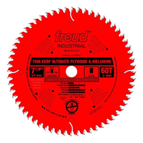 """Freud 7-1/4"""" x 60T Thin Kerf Ultimate Plywood & Melamine Blade (LU79R007)"""