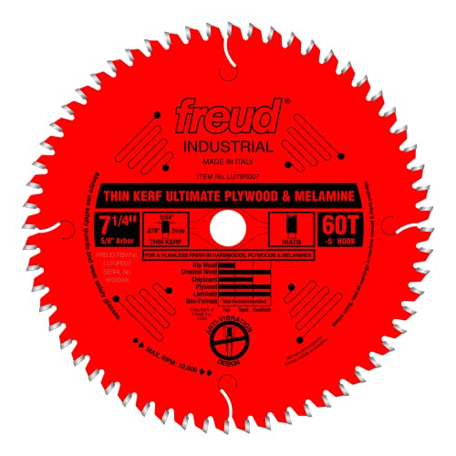 Product Image of the Freud 7-1/4' x 60T Thin Kerf Ultimate Plywood & Melamine Blade (LU79R007)