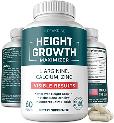 Height Growth Vitamin Pills - L-Arginine Calcium Zinc Supplement - Height Increase Vitamin Pills for Everybody - Without Growth Hormone - 60 Capsules