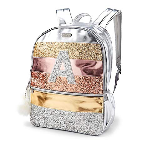 Justice Girls Glitter Stripe Silver Rose Gold Initial Full Size 16' School Backpack (Letter K)