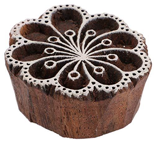 Guru-Shop Indischer Textilstempel, Stoffdruckstempel, Blaudruck Stempel, Holz Model - Ø 5 cm Blume 8, Braun, Indische Holzstempel