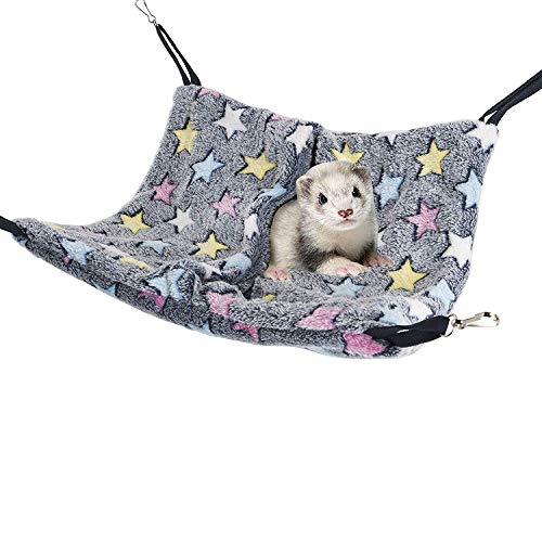 Niteangel Hanging Hammock Nap Sack Swing Bag Pet Sleeper for Ferret Rat Sugar Glider and Other Small Animals (Blue, Star)