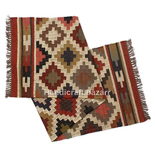 Handicraft Bazarr 2.5x8' lana tejida a mano rset alfombra de yute rset alfombra de yute reversible camino de mesa de comedor Meditación alfombras Yoga Dhurrie Oración Mat Set