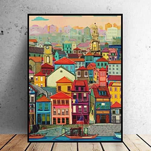 Puzzle 1000 teile Porto Gebäude Kunst Malerei puzzle 1000 teile er erwachsene Pädagogisches intellektuelles Dekomprimieren von Spielzeugrätseln Lustiges Familienspiel für Kinder Er50x75cm(20x30inch)