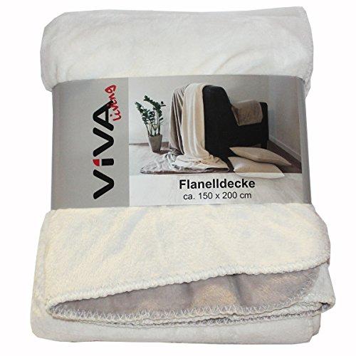 Flanelldecke 150x200cm Wohnzimmer Sofa Kuscheldecke Decke flauschig Winter weich, Farbe:offwhite_beige