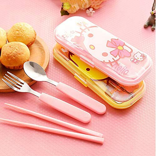 Spoon Hello Kitty - 3pcs Children Cartoon Cutlery Set Stainless Steel Plastic...