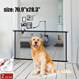 Magic Gate Pet Gate for Dogs,70.9'x28.3' Black Portable Mesh Folding Safety Fence, Pet Isolation...