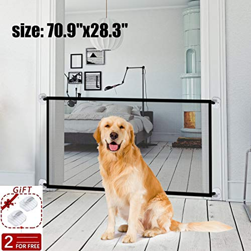 Magic Gate Pet Gate for Dogs,70.9'x28.3' Black Portable Mesh Folding Safety Fence, Pet Isolation Net,Dog Gate for House Indoor Stair/Doorway Use