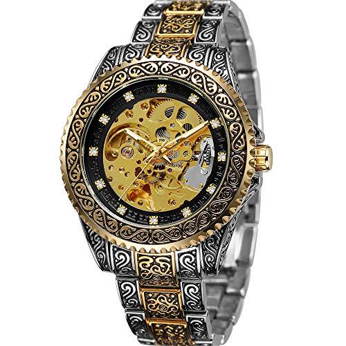 Herren Mechanische Armbanduhren Silber Automatikuhr Herren Tourbilon Skelettuhren Leuchtuhr (Gold&Black)
