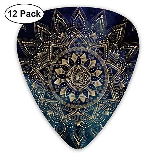 12 púas de guitarra con fondo azul de mandala dorada, púas de celuloide, para guitarra eléctrica, acústica o bajo, incluyendo 0,46 mm, 0,71 mm, 0,96 mm.