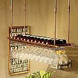 HLWJXS Bar Estante de Vino Estante de Vino Altura Ajustable Colgante de Pared Soporte de Botella de Hierro Metálico Soporte de Copa de Vino Estante de Copa Decoración Del Hogar Alenamiento, 120 * 30C