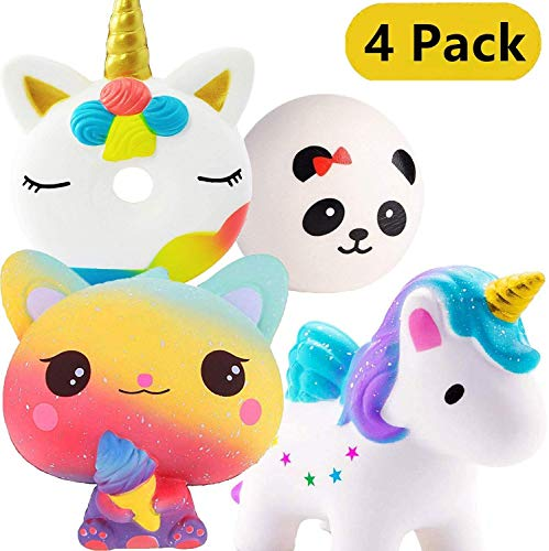 Eholder Kawaii Squishy Einhorn Spielzeug 4 Stück Squishies Antistress Spielzeug Stresskiller Duftend Squishy Set Panda Katze Donut Anti Stress Toy Set Kinder Erwachsene